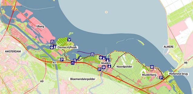Fiets langs het IJmeer van Muiden naar IJburg
